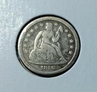 1856 SEATED LIBERTY DIME   SMALL DATE   FINE