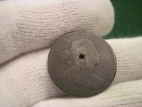 1803 DRAPED BUST LARGE CENT CENTER HOLED FOR BUTTON ETC