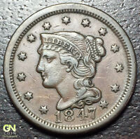 1847 BRAIDED HAIR LARGE CENT --  MAKE US AN OFFER  Y8195