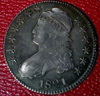 OLD VINTAGE COIN1821 CAPPED BUST SILVER HALF DOLLAR VF C112
