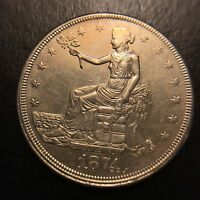 1874 CC TRADE SILVER DOLLAR ABT UNCIRCULATED T$1 AU/UNC CARSON CITY KEY DATE