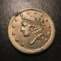 1839 CORONET SILLY HEAD LARGE CENT GEM UNCIRCULATED LUSTER MS UNC BU 1C  EAC
