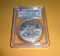 2012 S AMERICAN SILVER EAGLE PCGS MS70 FIRST STRIKE 1OZ COIN SAN FRANCISCO MINT