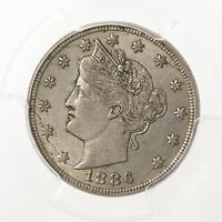 1886 LIBERTY HEAD 5C PCGS CAC CERTIFIED AU55 ABOUT UNCIRCULATED US NICKEL COIN