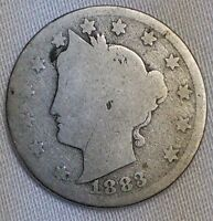 LIBERTY NICKEL 1883 WITH CENTS 134 YEARS OLD - AG