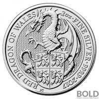 2017 SILVER GREAT BRITAIN QUEEN'S BEASTS  THE RED DRAGON    2 OZ