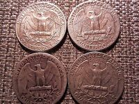 CRACKED DIES VARIETIES SILVER WASHINGTON QUARTER LOT OF 4  1964 59 53 43