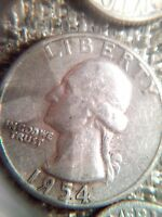 1954 WASHINGTON SILVER QUARTER WITH THE NUMERAL NINE USING A CANE