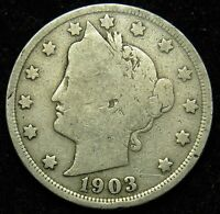 1903 LIBERTY BARBER V NICKEL G GOOD B02