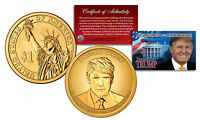 DONALD J TRUMP 45TH PRESIDENT GOLDEN HUE PRESIDENTIAL DOLLAR $1 US COIN WITH COA