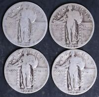 CIRCULATED STANDING LIBERTY QUARTERS 4 - 1925,1927,1928S,1929 - LOT SLQ6