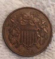 1868 2 TWO CENT PIECE AU