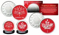 CANADA 150 ANNIVERSARY ROYAL CANADIAN MINT COLORIZED MEDALLIONS 2 COIN SET   RED