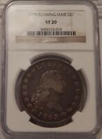 1795 FLOWING HAIR BUST DOLLAR $1 VF 20 NGC 3 LEAVES