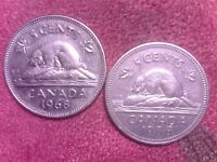 CANADA  5  CENTS    1968 1986