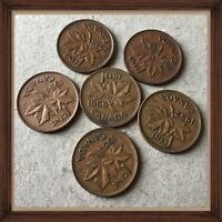 LOT OF 6 CANADIAN SMALL PENNIES 1950 1951 1952 1953 1954 1955  CIRCULATED 664