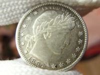 1897 P BARBER QUARTER ABOUT UNCIRCULATED BOLD FULL LIBERTY AU