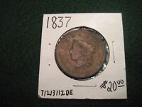 1837 LARGE CENT OLD US TYPE COIN