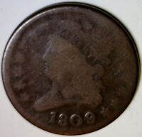 1809 HALF CENT  US COPPER COIN 1/2 PENNY ESTATE ORIGINAL LOT 4 MAKE AN OFFER
