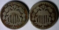1882 & 1883 SHIELD NICKEL TYPE COINS  2 COIN LOT 6 OF 100 AUCTIONS  NO RESERVE