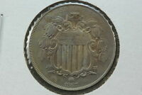 1867 SHIELD NICKEL AU NO RAYS