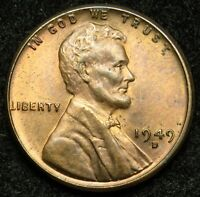 1949 D LINCOLN WHEAT CENT PENNY AU ABOUT UNCIRCULATED B05