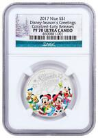 2017 NIUE SILVER $1 - DISNEY - SEASON'S GREETINGS - 1/2 OZ - PF70 UC ER NGC COIN