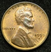 1950 S LINCOLN WHEAT CENT PENNY AU ABOUT UNCIRCULATED B02