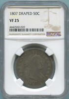 1807 DRAPED BUST HALF DOLLAR. NGC VF25