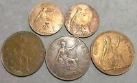 LOT OF 5 UK GREAT BRITAIN BIG ONE & HALF PENNY COINS: 1912 1