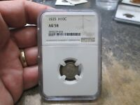 1835 BUST HALF DIME IN NGC AU58 ABOUT UNCIRCULATED CONDITION