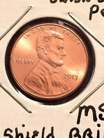 2013 LINCOLN CENT   UNION SHIELD   BRILLIANT UNC