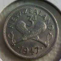 1947 NEW ZEALAND THREE PENCE  3D  COIN       NOV037