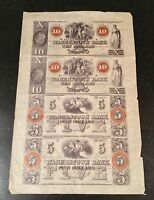 HAGERSTOWN BANK   OBSOLETE CURRENCY SHEET   $5 & $10 DOLLAR   LOT OF   MID 1800S