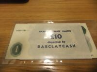 ONE POUND NOTE   10 CONSECUTIVE NOTES PAGE STILL IN BARCLAYS