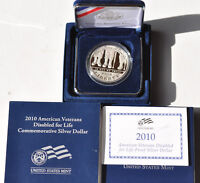 2010 $1 AMERICAN VETERANS DISABLED FOR LIFE PROOF SILVER DOLLAR COMPLETE IN BOX