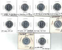 CANADA 5 CENTS 1944 & 1945 DEALER LOT OF 57 XF/AU COINS WWII VICTORY NICKELS