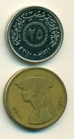 2 COINS FROM EGYPT   25 & 50 PIASTRES  BOTH 2008  50 PIASTRES W/ CLEOPATRA
