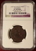 1787 COLONIAL NEW JERSEY SMALL PLANCHET PLAN SHIELD NGC VF DETAILS