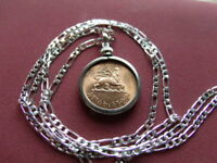 HAILE SELLASIE LION OF JUDAH COIN PENDANT ON A 28