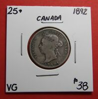 1892 25 CENT CANADA TWENTY FIVE CENTS QUARTER COIN ZC 104   $38 VG