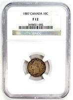 1887 NGC F 12 CANADA 10C DIME 99008 R