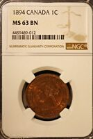1894 CANADA LARGE CENT NGC MS63BN        FREE U.S. SHIPPING