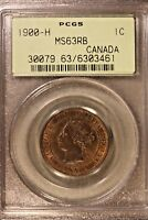 1900 H CANADA LARGE CENT PCGS MS63RB         FREE U.S. SHIPPING