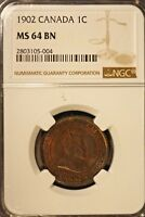 1902 CANADA LARGE CENT NGC MS 64 BN         FREE U.S. SHIPPING