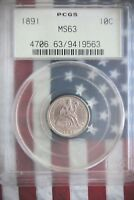 1891 SEATED LIBERTY DIME PCGS MS63 W/ OBV AND REV CLASHED DIES