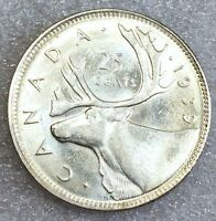 UNCIRCULATED 1939 CANADA 25 CENTS FROSTY CANADIAN UNC COIN