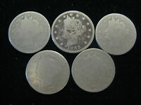 LOT OF 5 US LIBERTY V NICKLES 1883 1888 1890 1892 1893