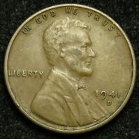 1941 D LINCOLN WHEAT CENT PENNY VF  FINE B03