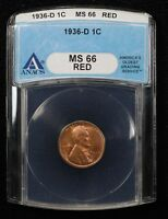 1936-D WHEAT CENT ANACS MINT STATE 66 RED